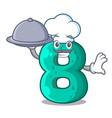 chef with food number eight made with cartoon vector image