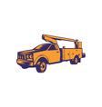 Cherry Picker Mobile Lift Truck Woodcut vector image vector image