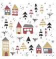 christmas pattern with houses and trees vector image
