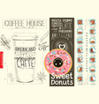 coffee menu design template for coffee house vector image vector image