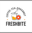 cup and doughnut logo in emblem style vector image vector image