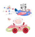 cute cartoon set transport airplane vector image