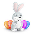 Cute easter bunny sitting and laughing