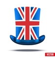 Cylinder hat with a British flag vector image