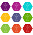 direction sign icons set 9 vector image vector image