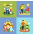 Fatherhood father playing with children vector image vector image