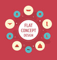 flat icons boots elegant headgear shorts and vector image