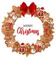 gingerbread wreath vector image vector image