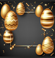 golden eggs on black realistic easter sale banner vector image vector image