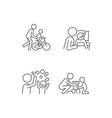 good parenting linear icons set vector image vector image