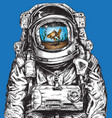 hand drawn astronaut filled with water and goldfis vector image vector image