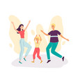 happy family couple with child dancing together vector image vector image