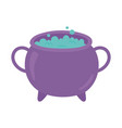 happy halloween cauldron with potion spell vector image