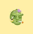 head terrible facial expression of zombie smoking vector image vector image