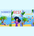 hello summer vacation rest flat banner set vector image vector image