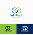 infinity technology logo template vector image vector image