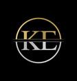 initial ke letter logo design abstract letter ke vector image vector image