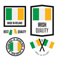 ireland quality label set for goods vector image vector image