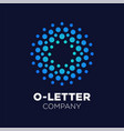 letter o logo dots icon dotted shape logotype vector image