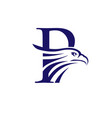 letter p and eagle head logo vector image vector image