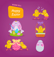 lovely chickens have fun celebrate in easter vector image vector image