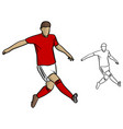 male soccer player with red jersey playing vector image