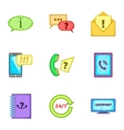 Online consultation icons set cartoon style vector image vector image