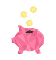 pink polygonal piggy bank with golden coin vector image vector image