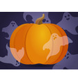 pumpkin with ghosts vector image vector image