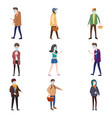 set characters people wearing medical face masks vector image vector image