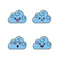 set kawaii cute tender clouds weather vector image