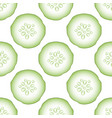 set of fresh green cucumbers seamless pattern vector image