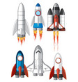 set of spaceship on white background vector image