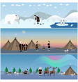 set of wild north arctic posters in flat vector image