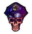 skull in police cap eps 10 police uniform vector image