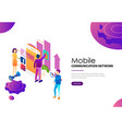 social modern mobile communication network vector image
