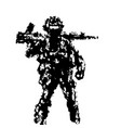 soldier holding assault rifle on his shoulder vector image