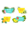 summer big sale special offer labels set 50 vector image