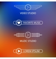 Template of a logo of a muzic and video of studio vector image vector image