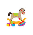 toys cubics rocking horse whirligig toy vector image