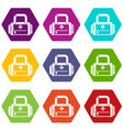 travel bag handle icons set 9 vector image vector image