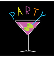 Violet cocktail in martini glass Word Party Card vector image vector image
