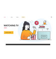 woman watching tv in a personal entertainment vector image vector image