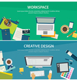 workspace and creative design banner template vector image