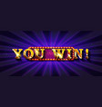 you win banner design vector image vector image