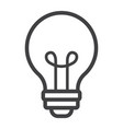 light bulb line icon lamp and idea light vector image