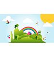 Happy spring time landscape background vector image