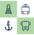 transport icons set collection of railway anchor vector image
