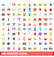 100 concert icons set cartoon style vector image vector image