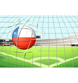 a ball hitting a goal with flag chile vector image vector image